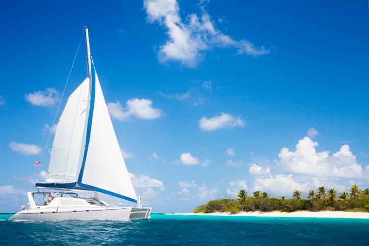 Vackra paradisstränder för kiteboarding